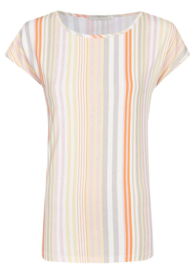 heimatliebe damen t-shirt mit multicolour streifen in weiß
